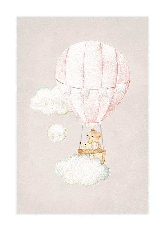 Hot Air Balloon No2 Poster / Animal illustrations at Desenio AB (13716)