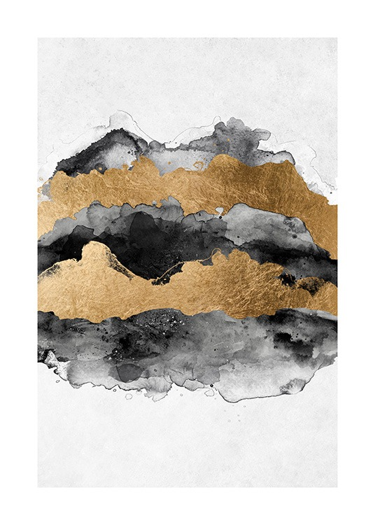 Gold Aquarelle Poster / Abstract art at Desenio AB (13761)