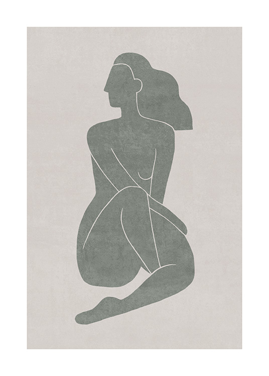 Seated Pose Green No1 Poster / Illustrations at Desenio AB (13799)