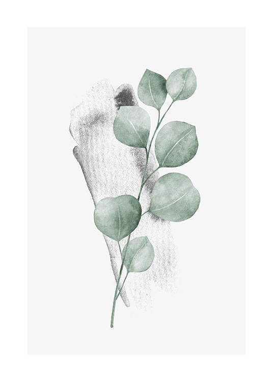 – Watercolour painting of a small eucalyptus branch with green leaves and a light grey background
