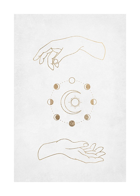 – Graphical illustration of a pair of hands with golden circles and a moon and sun inbetween them