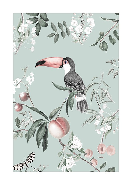 – Retro illustration of a toucan on a branch with peaches around it on a mint green background