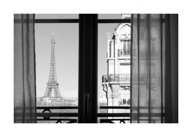 – Black and white photograph of the Eiffel Tower and a building seen from a window