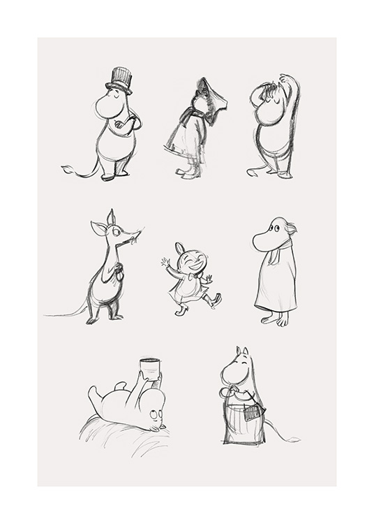 – Sketch with the main characters of Moominvalley, drawn in grey on a light beige background
