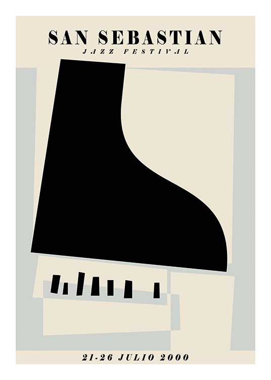 – Graphic illustration of a jazz festival poster with a piano in the middle and text at the top and bottom