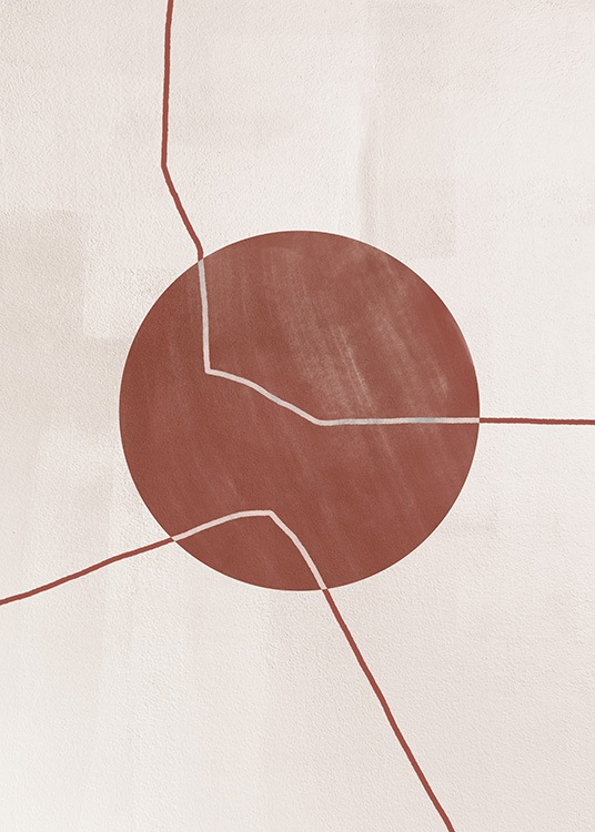- Illustration with abstract lines passing through a circle in red, on a beige background