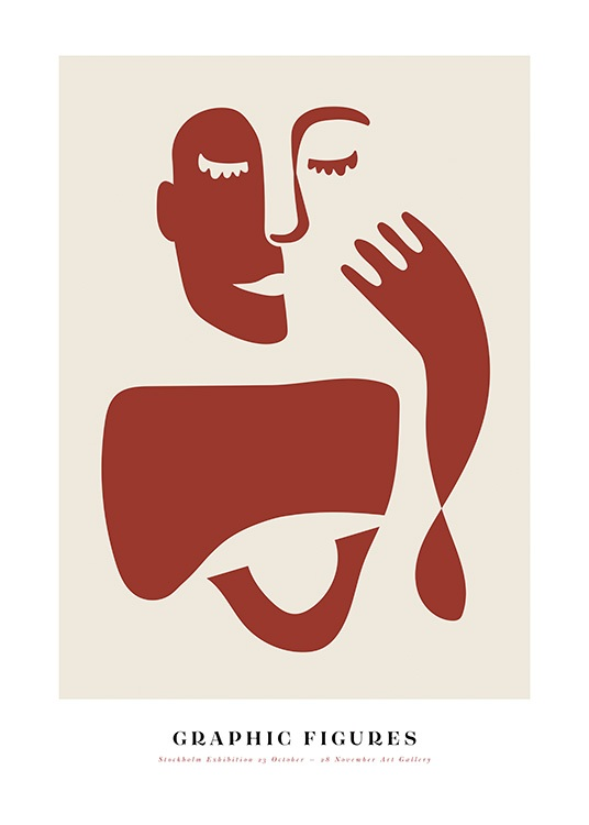 - Graphical illustration in red and beige of an abstract face and hand