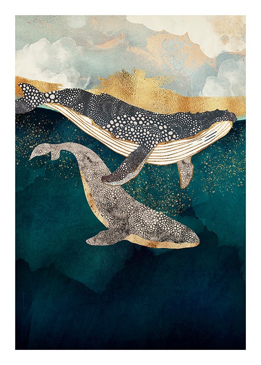 - Graphical illustration in blue of two whales swimming in an ocean