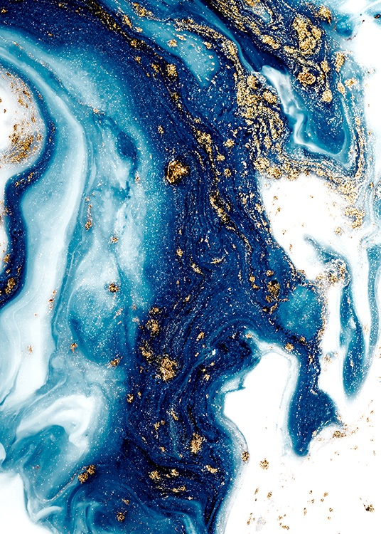 - Oil painting with abstract painted swirls in blue and white with and gold details