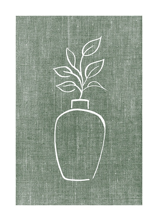 – Illustration of a white vase with leaves in it on a green linen background