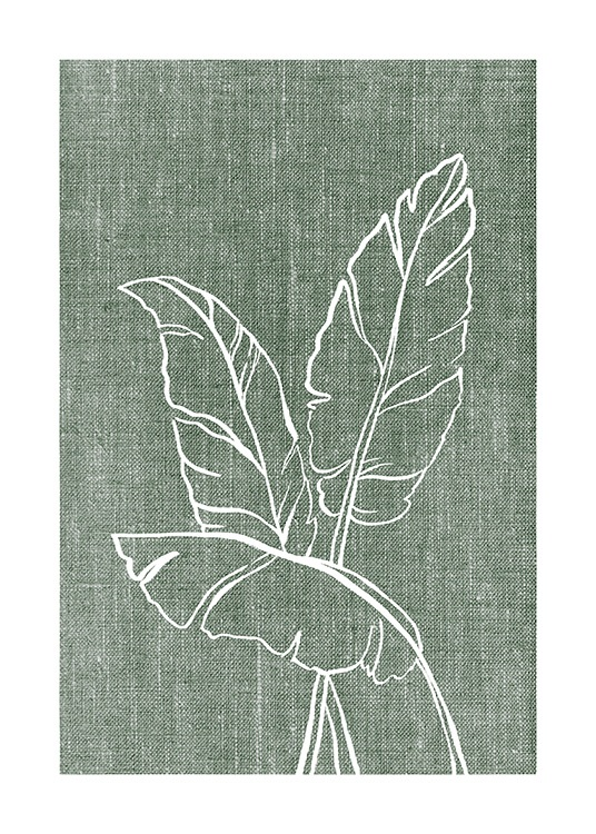 – Illustration of white leaves on a green background with a linen look