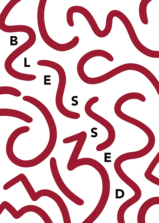 – Graphical illustration with the word Blessed, and bold red lines on a white background
