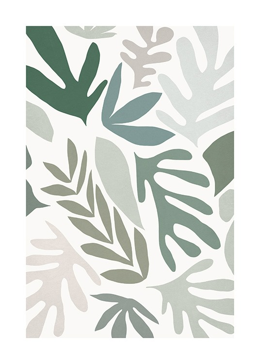 – Graphical illustration with grey, beige and green leaves on a light beige background
