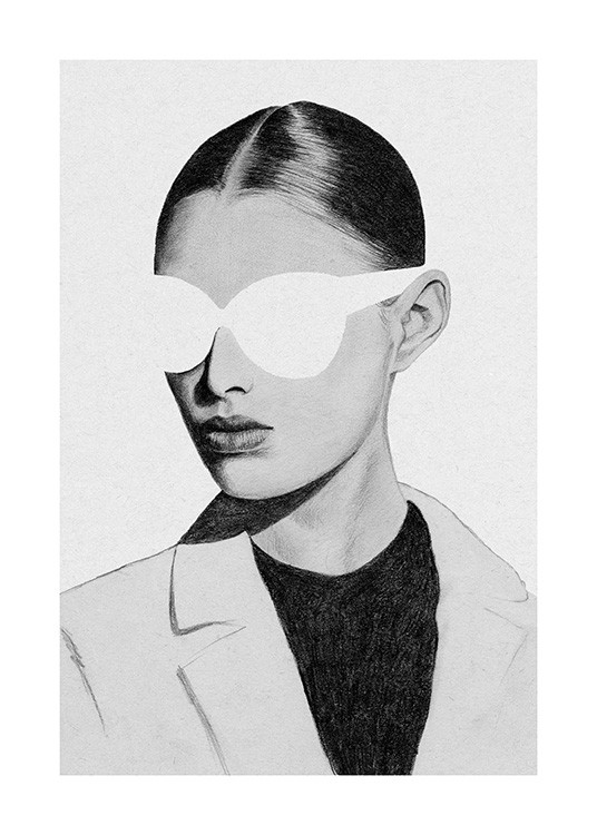– Black and white sketch of a woman wearing large sunglasses, a jacket and slicked back hair