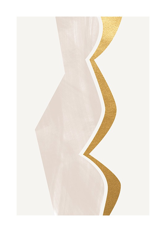 – Graphic illustration with a curved shape in gold and beige on a light grey background