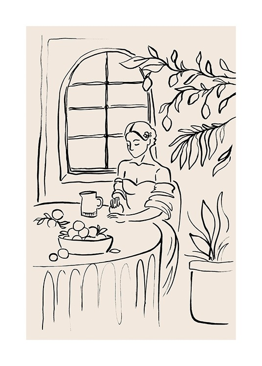 – Illustration of a woman at a table with a lemon tree and window in the background