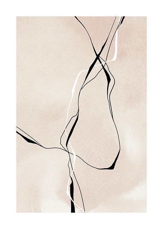 – Illustration with abstract lines in black and white on a beige background