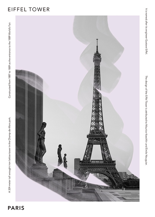 – Graphic poster with a purple background behind a photograph of sculptures and the Eiffel Tower