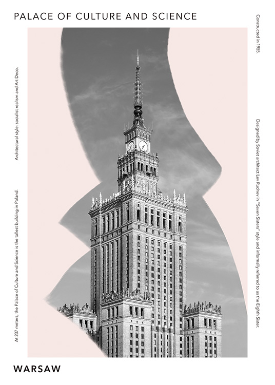 – Graphic print with a light pink background behind the Palace of Culture and Science in Warsaw