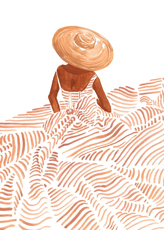 – Illustration in watercolour of a woman wearing a large dress with orange stripes and a sunhat