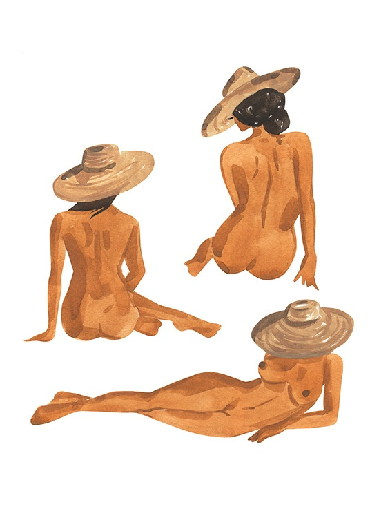 – Illustration in watercolour of three females, sitting and laying down, wearing sunhats
