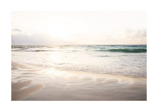 – Photograph of an ocean and beach during sunset