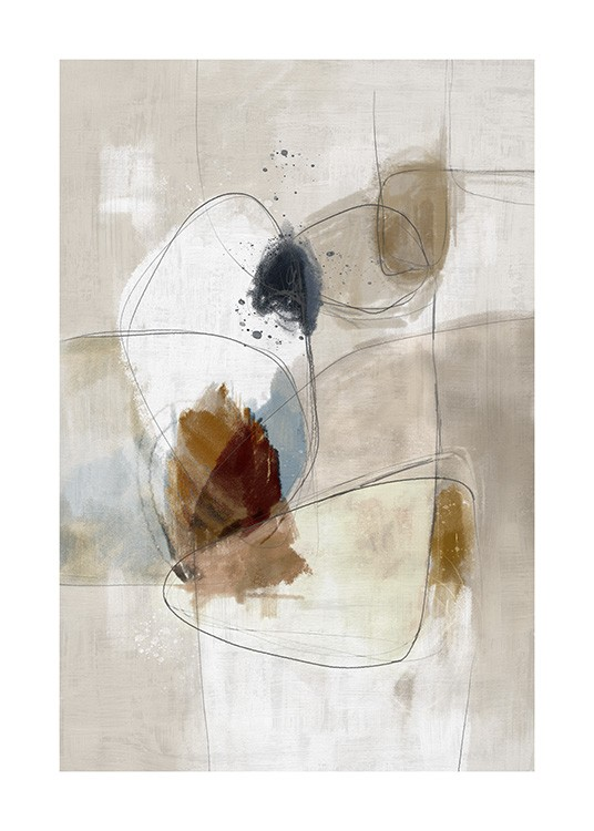 – Beige painting with brown and blue abstract shapes