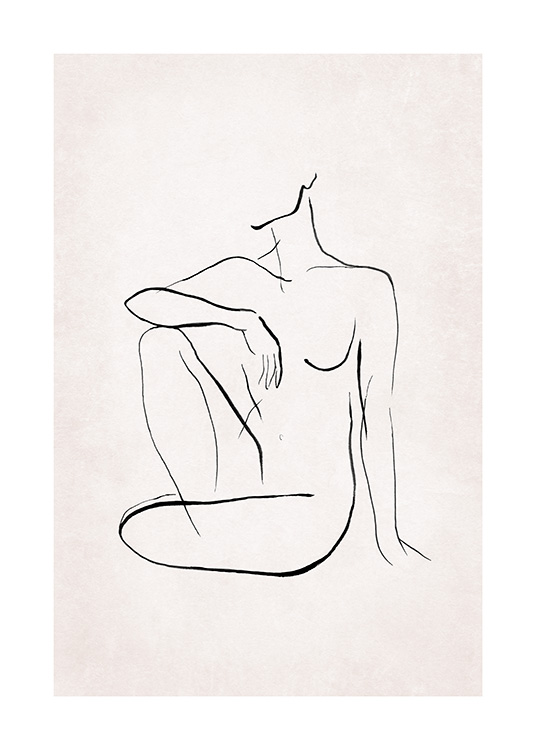 – Illustration in line art with a naked body sitting down, painted in black on a light pink background