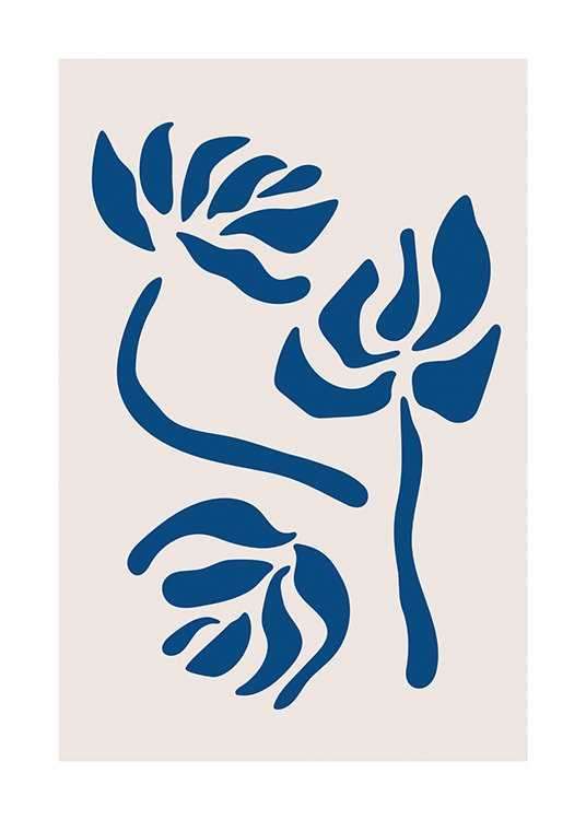 – Graphic illustration with flowers in dark blue on a light beige background