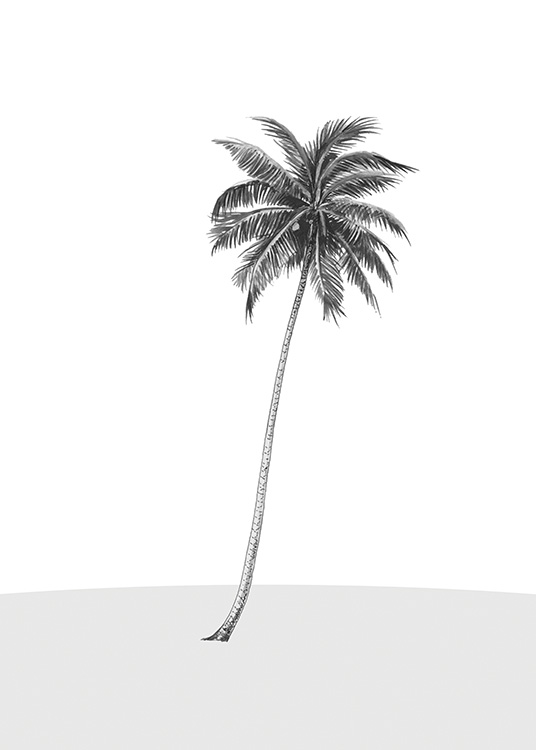 – Illustration of a single palm tree on a grey foundation with a white background