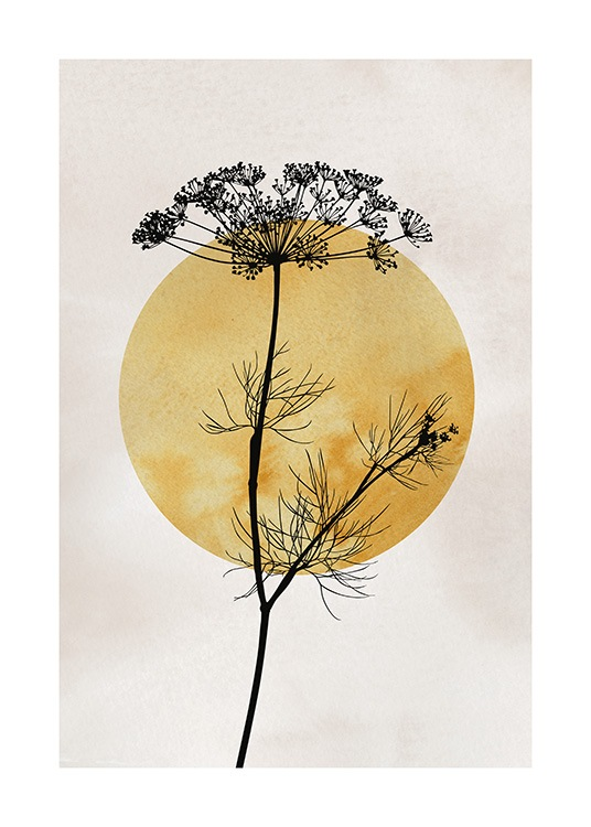– Illustration with a dark yellow sun behind a black plant, on a beige background
