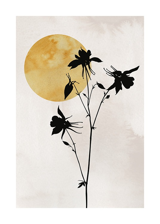 – Illustration with small, black flowers on a beige background with a yellow sun in the corner