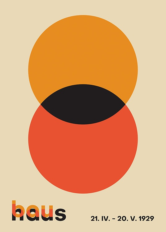 – Graphic illustration with a red and orange circle overlapping, against a beige background