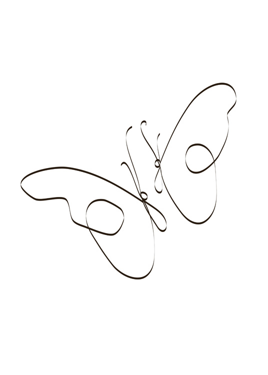 – Illustration in line art of two butterflies, drawn with black lines on a white background