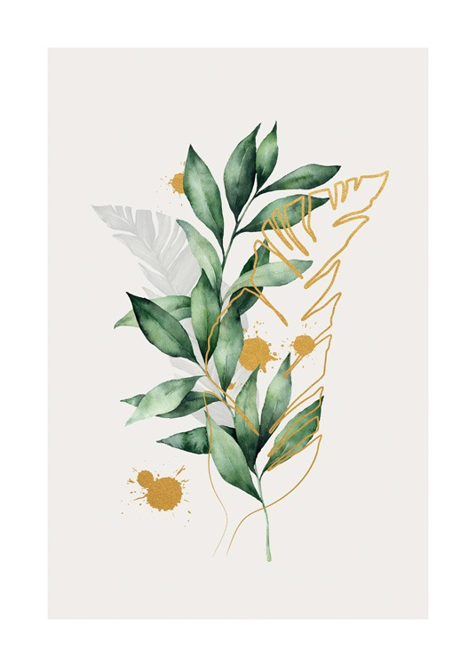 – Painting in aquarelle of gold and grey leaves next to a branch with green leaves