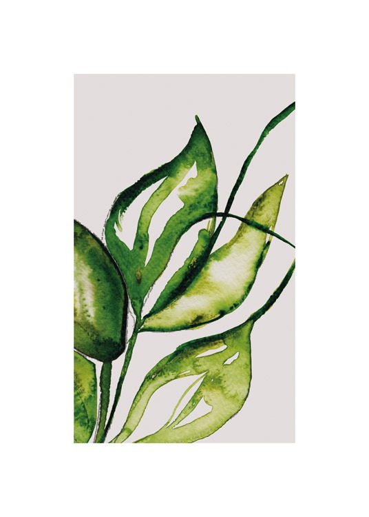 – Painting with green leaves painted in aquarelle on a beige background