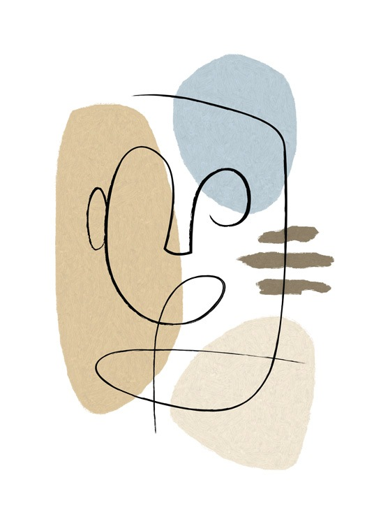 – Illustration with blue and beige shapes and an abstract face drawn in line art, on a white background