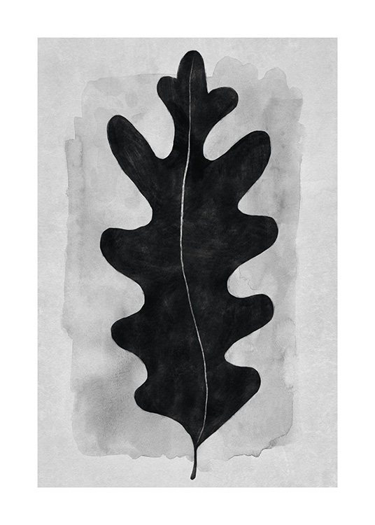– Illustration of a black leaf in watercolour against a grey background with watercolour structure