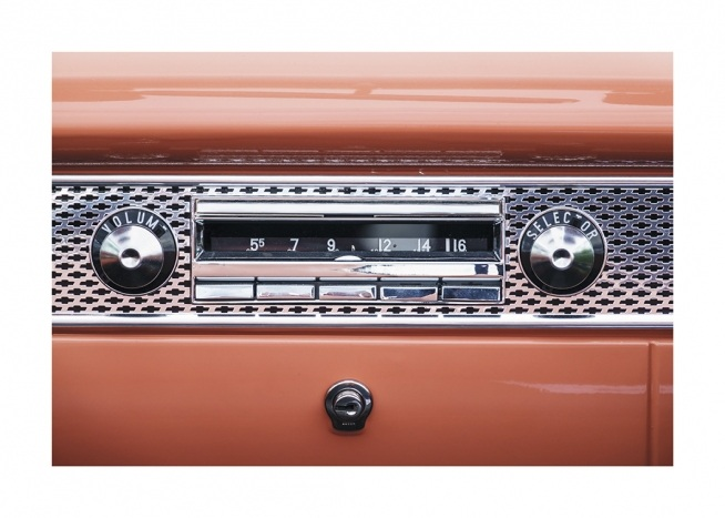 – Photograph of a red radio with a vintage style