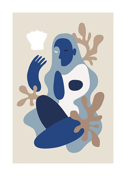 – Graphic illustration of an abstract body in white and blue colour blocks against a beige background