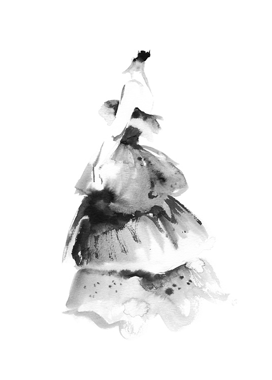 – Painting in watercolour of a ruffled, large dress in black on a white background