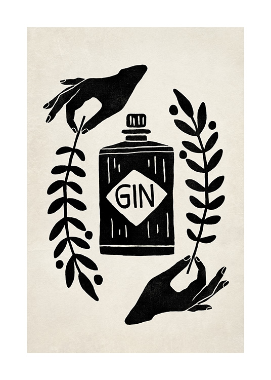 – Graphic illustration with a black gin bottle surrounded by leaves held by a pair of hands