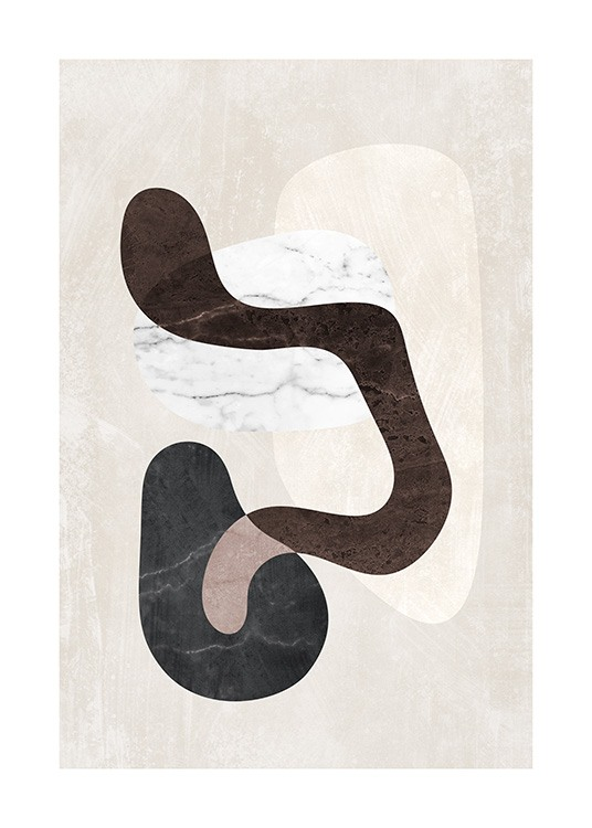 – Graphic illustration with a bunch of abstract shapes in beige, black, white and brown with marble structure