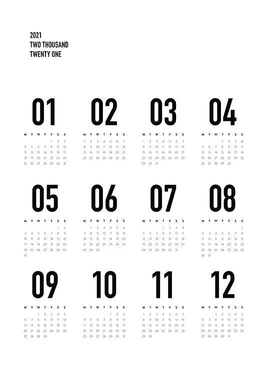– Black and white calendar with monthly view of 2022