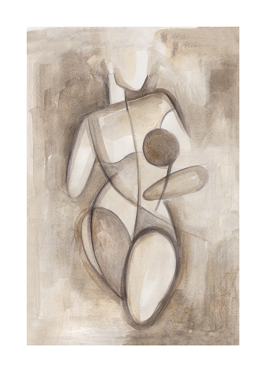 – Watercolour sketch in beige and brown of a naked, female body drawn with blocks