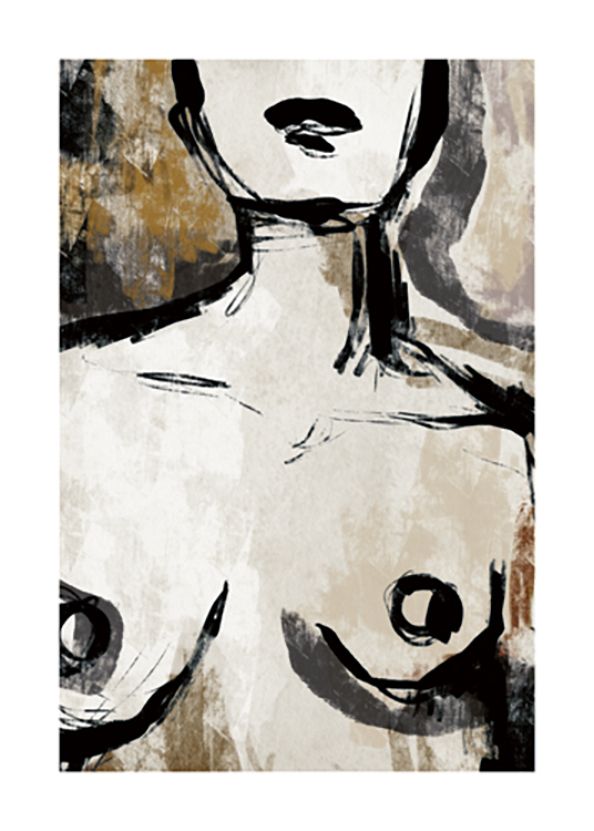 – Illustration of a woman's naked chest and neck in beige and black against a brown and beige background