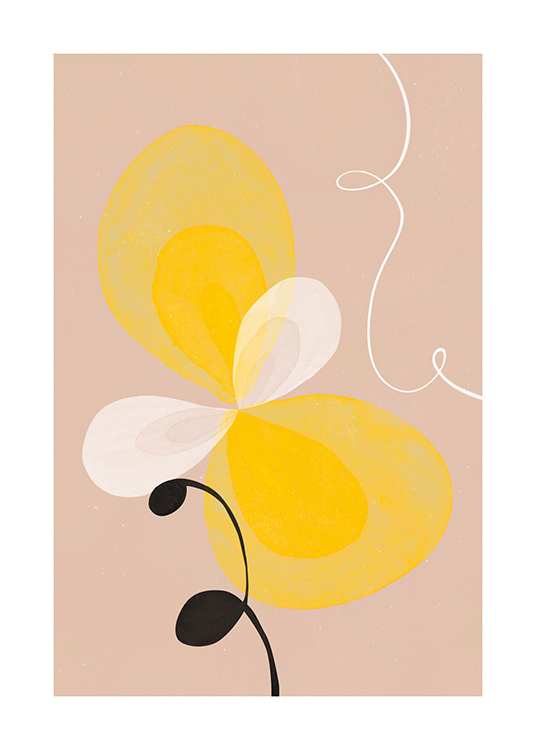 – Illustration with a yellow and white abstract flower on a beige background