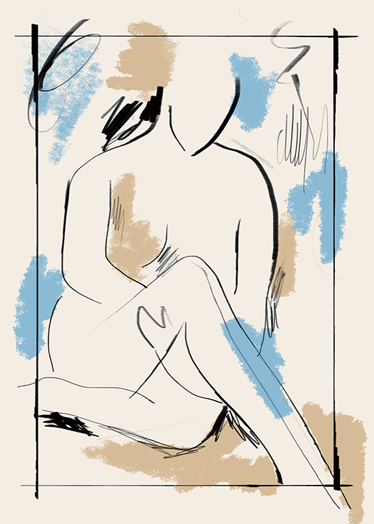 – Painting with a seated, naked body and blue, beige and black paint strokes on a light beige background