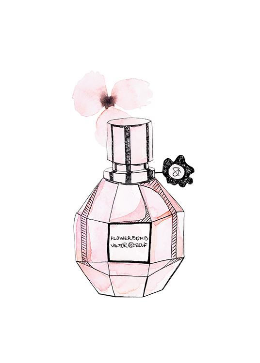 – Illustration of a perfume ottle in pink and a small, pink flower against a white background