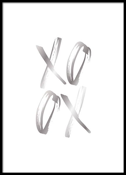 – Text print with XOXO written in silver on a white background